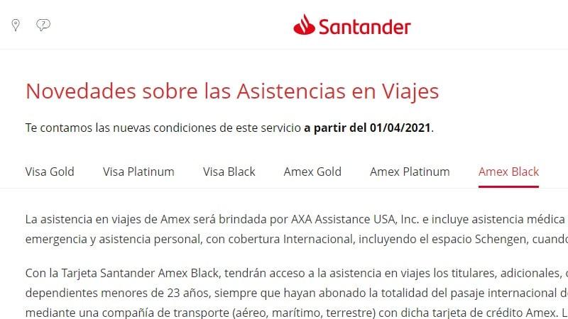 Banco Santander quita asistencia al viajero en tarjetas de crédito Gold y sube las condiciones para Platinum y Black